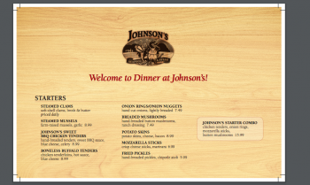 View the Johnson's Dinner Menu