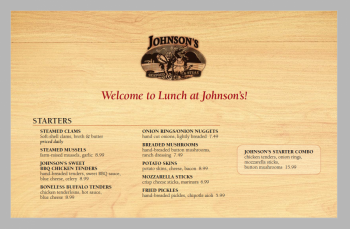 View a PDF of the Johnson's Lunch Menu